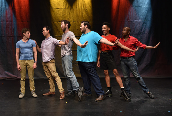 (left to right) Conor McGarry, Francisco Lopez, Maxwell J. DeTogne, Vasily Deris, Jerome Riley and Korey White in Rogue Elephant Productions' PLANTED, co-conceived by Christopher Pazdernik and Jeff Bouthiette, music & lyrics by Jeff Bouthiette, addition