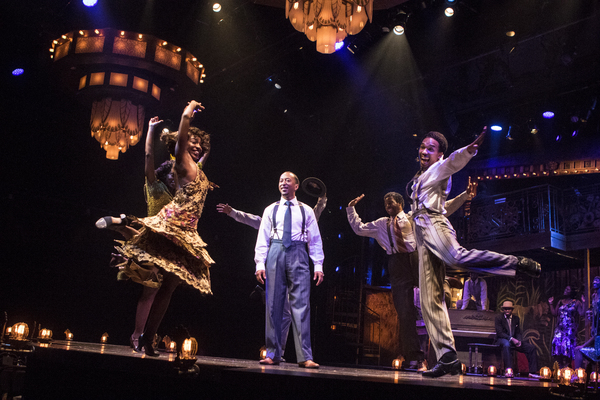 Mark G Meadows (Jelly Roll Morton) with the cast of JELLY'S LAST JAM at Signature Theatre