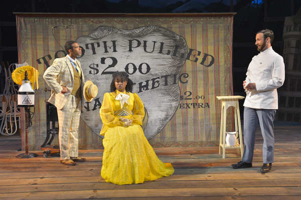 (L to R) Lance Gardner as Philip, Khalia Davis as Dolly, and Matthew Baldiga as Valentine in California Shakespeare Theater''s production of Shaw''s YOU NEVER CAN TELL, directed by Lisa Peterson; photo by Kevin Berne.