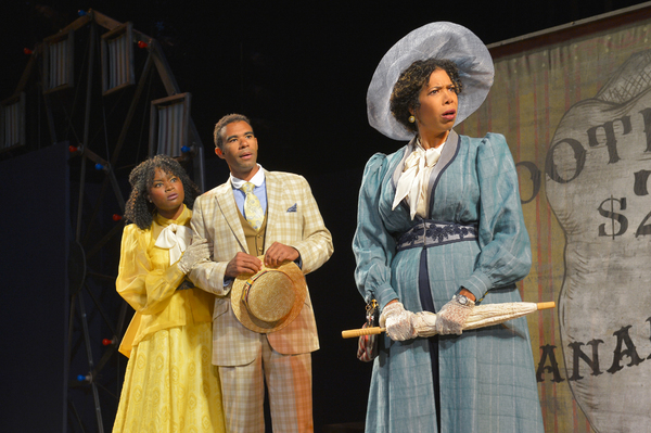 (L to R) Khalia Davis as Dolly, Lance Gardner as Philip, and Elizabeth Carter as Mrs. Clandon in California Shakespeare Theater''s production of Shaw''s YOU NEVER CAN TELL, directed by Lisa Peterson; photo by Kevin Berne.