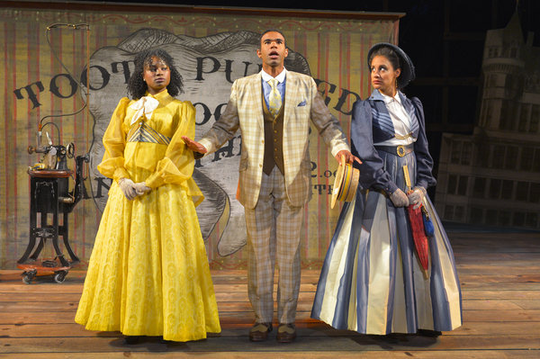(L to R) Khalia Davis as Dolly, Lance Gardner as Philip, and Sabina Zuniga Varela as Gloria in California Shakespeare Theater''s production of Shaw''s YOU NEVER CAN TELL, directed by Lisa Peterson; photo by Kevin Berne.