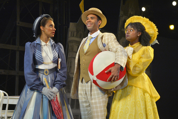 (L to R) Sabina Zuniga Varela as Gloria, Lance Gardner as Philip, and Khalia Davis as Dolly in California Shakespeare Theater''s production of Shaw''s YOU NEVER CAN TELL, directed by Lisa Peterson; photo by Kevin Berne.