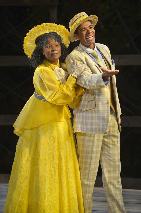 (L to R) Khalia Davis as Dolly and Lance Gardner as Philip in California Shakespeare Theater''s production of Shaw''s YOU NEVER CAN TELL, directed by Lisa Peterson; photo by Kevin Berne.