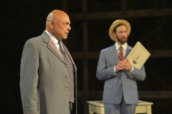 (L to R) Michael Torres as Fergus Crampton and Matthew Baldiga as Valentine in California Shakespeare Theater''s production of Shaw''s YOU NEVER CAN TELL, directed by Lisa Peterson; photo by Kevin Berne.