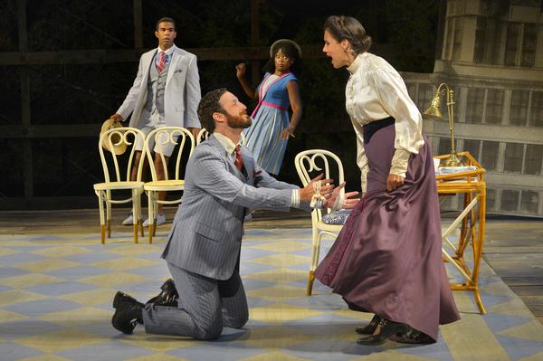 (foreground, L to R) Matthew Baldiga as Valentine and Sabina Zuniga Varela (backgroun Photo