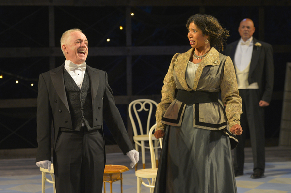 (L to R) Danny Scheie as Walter, Elizabeth Carter as Mrs. Clandon, and Michael Torres as Fergus Crampton in California Shakespeare Theater''s production of Shaw''s YOU NEVER CAN TELL, directed by Lisa Peterson; photo by Kevin Berne.