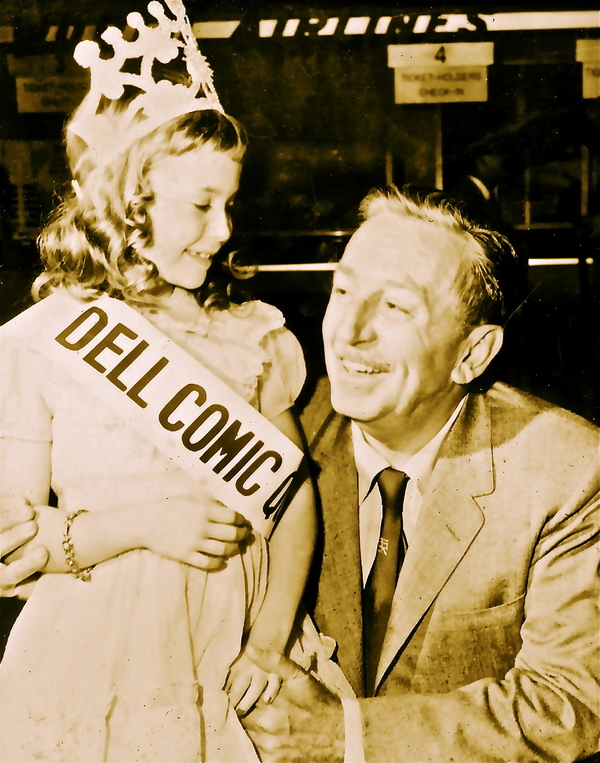 A young Dee Wallace with Walt Disney