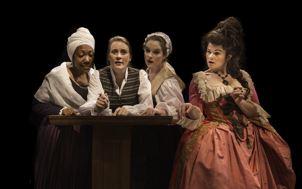 L-R: Marianne Angelle (Callina Situka), Olympe de Gouges (Shannon Emerick), Charlotte Corday (Molly Searcy), and Marie Antoinette (Bree Welch).