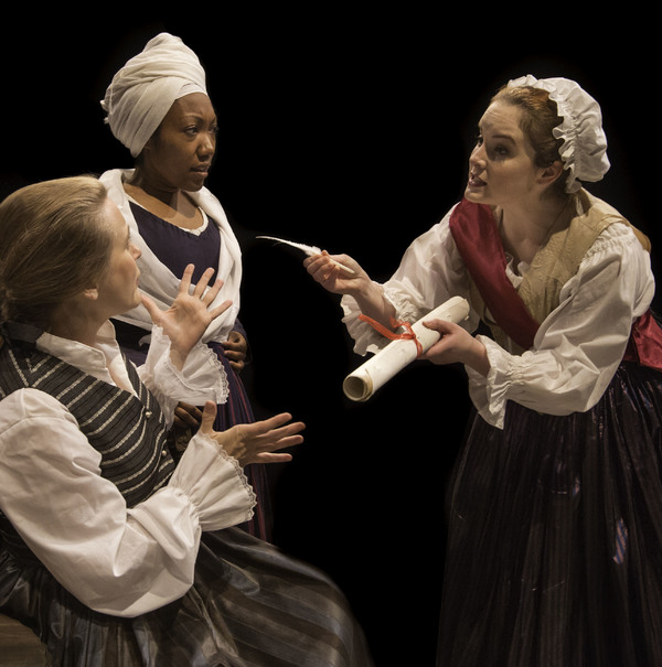 Standing L-R: Marianne Angelle (Callina Situka) and Charlotte Corday (Molly Searcy) Seated: Olympe de Gouges (Shannon Emerick)