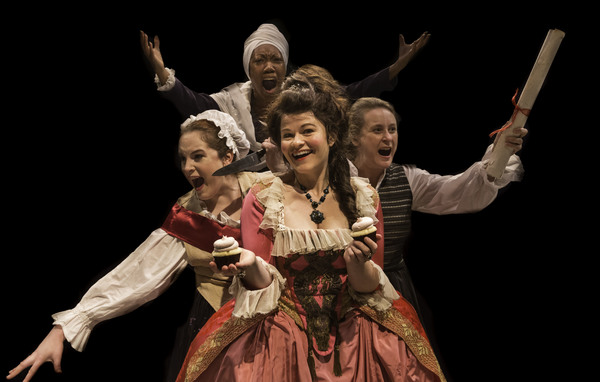 Standing (up) in back: Marianne Angelle (Callina Situka) L-R at ground-level: Charlotte Corday (Molly Searcy), Marie Antoinette (Bree Welch), and Olympe de Gouges (Shannon Emerick)