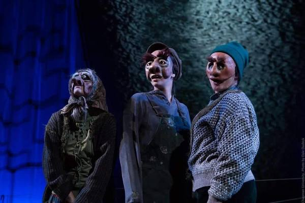 Chapman University's Department of Theatre produced Sarah Ruhl's Eurydice last season, which I was fortunate to be a part of. From L to R: Natasha Gualy as Loud Stone, Caroline Hale as Big Stone, and Monica Furman as Little Stone. Photo by Dale Dudeck.