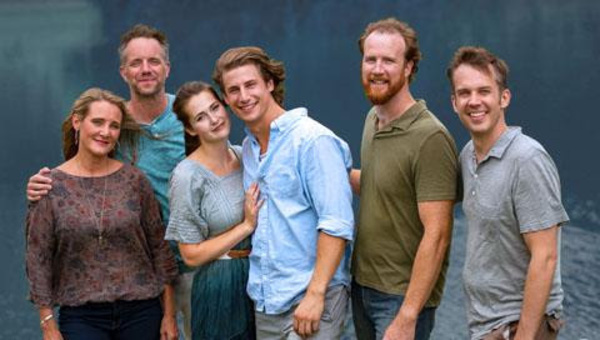 (from left) Amy Montgomery as Donna Sheridan, Jeff Diebold as Sam Carmichael,  Kiersten Frumkin as Sophie Sherdian, Ryan McBride as Sky, Steve O''Connell as Bill Austin and Michael Gillis as Harry Bright. Photo credit: Thomas J. King