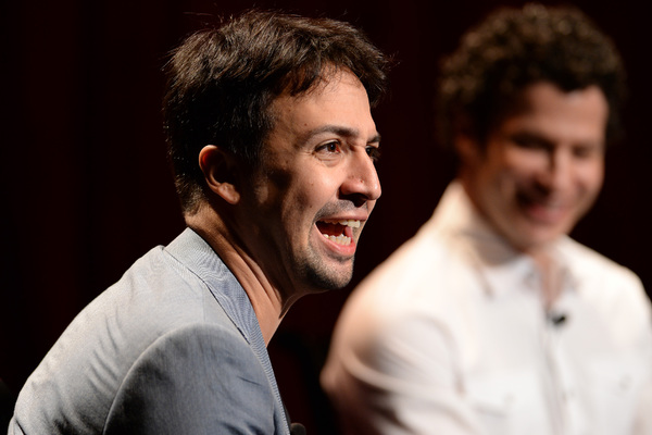 GREASE LIVE: Lin-Manuel Miranda talks  onstage during FOX''s GREASE LIVE Q&A With the Creative Team at the Hudson Ballroom on Monday, August 15, 2016 in New York City. (Photo by Anthony Behar/Fox/PictureGroup)