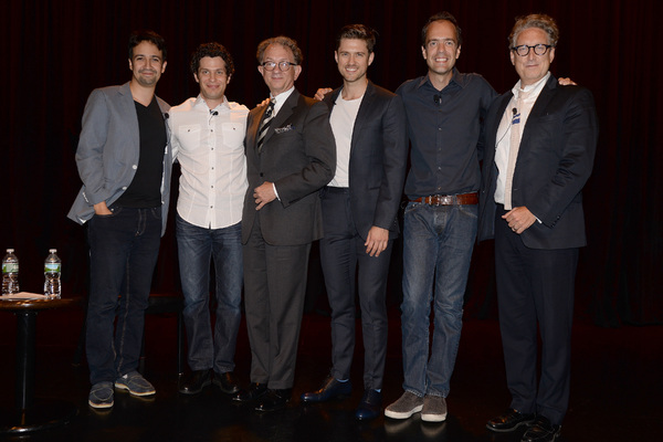GREASE LIVE: Lin-Manuel Miranda, Thomas Kail (director), William Ivey Long, Aaron Tveit, Alex Rudzinski and Bernard Telsey pose together onstage during FOX''s GREASE LIVE Q&A With the Creative Team at the Hudson Ballroom on Monday, August 15, 2016 in New