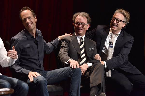 GREASE LIVE: (L-R) Alex Rudzinski, William Ivey Long and Bernard Telsey laugh during FOX''s GREASE LIVE Q&A With the Creative Team at the Hudson Ballroom on Monday, August 15, 2016 in New York City. (Photo by Anthony Behar/Fox/PictureGroup)