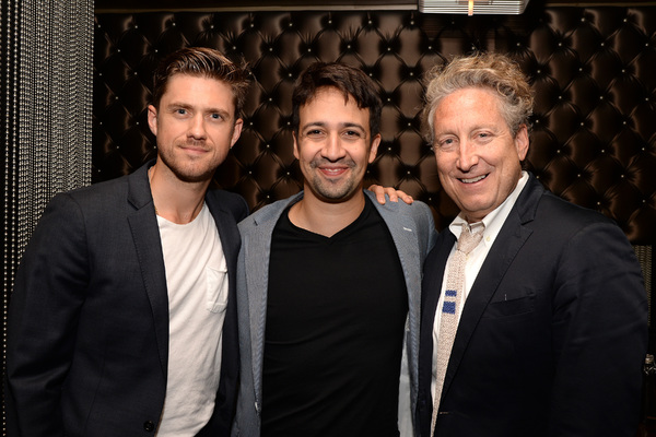 GREASE LIVE: Actor Aaron Tveit, Lin-Manuel Miranda and Bernard Telsey pose together after speaking onstage at  FOX''s GREASE LIVE Q&A With the Creative Team at the Hudson Ballroom on Monday, August 15, 2016 in New York City. (Photo by Anthony Behar/Fox/Pi