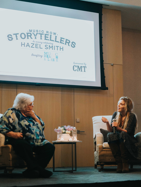 Music Row Storytellers honoree Hazel Smith and Grammy Award winning artist Alison Krauss share a moment onstage.
