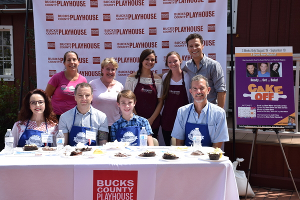 The judges and competitors! Standing from left to right: Competitors Joanne Jarin, The Lucky Cupcake; Marjorie Monahan, Maison Blanc; Julia Lehman and Maura Houk, Maryanne''s Pastry Shoppe; and host and cast member Justin Guarini. Seated from left to righ