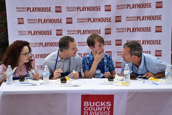 The judges are busy discussing all of the entries between bites! From left to right are Cast Members Michele Ragusa, Euan Morton, Aidan J. Lawrence (14 years old) and Bucks County Playhouse Producing Director Alex Fraser.