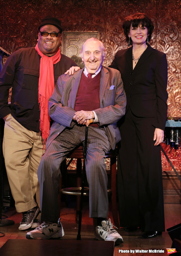 Stew, Fyvush Finkel and Beth Leavel attend a Special Press Preview at 54 Below on Feb Photo