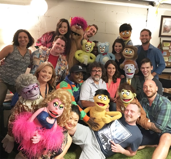 Tina Fey, Jeff Richmond and the cast of Avenue Q