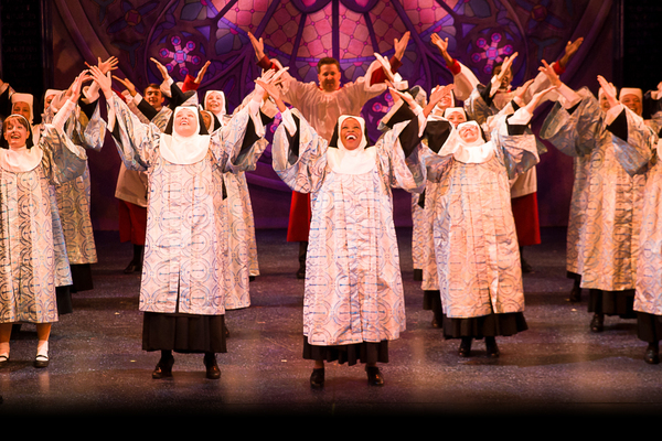 Jeannette Bayardelle (Deloris Van Cartier) and the cast of Theatre By The Sea''s SISTER ACT