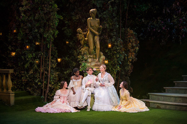 Amy Blackman as Maria, Pascale Armand as Rosaline, Kevin Cahoon as Boyet, Kristen Connolly as Princess of France, and Talley Beth Gale as Katherine