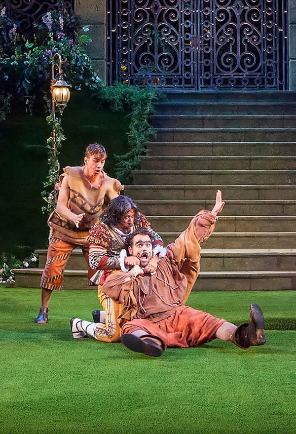 Daniel Petzold as Moth, Triney Sandoval as Don Adriano de Armado, and Greg Hildreth as Costard