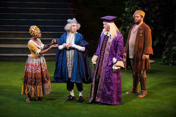 Makha Mthembu as Jaquenetta, Patrick Kerr as Sir Nathaniel, Stephen Spinella as Holofernes, and Jake Millgard as Dull