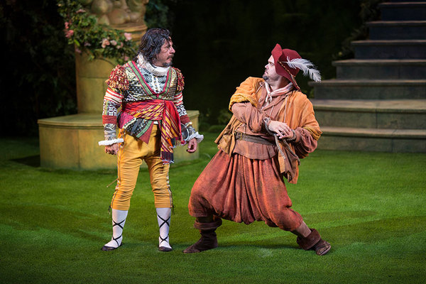 Triney Sandoval as Don Adriano de Armado and Greg Hildreth as Costard