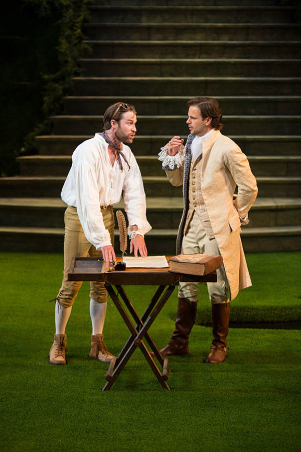 Kieran Campion as Berowne and Jonny Orsini as Ferdinand, King of Navarre