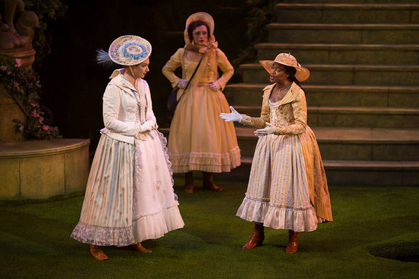 Kristen Connolly as Princess of France, Talley Beth Gale as Katherine, and Pascale Armand as Rosaline