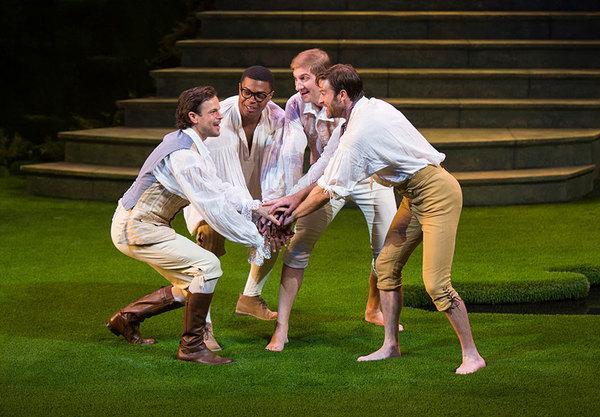 Jonny Orsini as Ferdinand, King of Navarre, Amara James Aja as Dumaine, Nathan Whitmer as Longaville, and Kieran Campion as Berowne