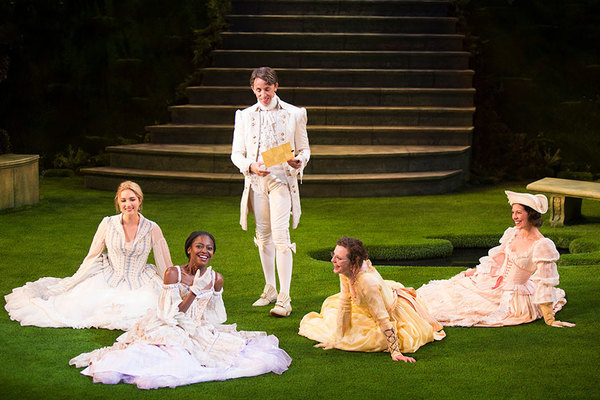 Kristen Connolly as Priness of France, Pascale Armand as Rosaline, Kevin Cahoon as Boyet, Talley Beth Gale as Katherine, and Amy Blackman as Maria