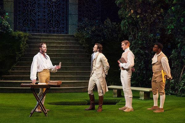 Kieran Campion as Berowne, Jonny Orsini as Ferdinand, King of Navarre, Nathan Whitmer as Longaville, and Amara James Aja as Dumaine