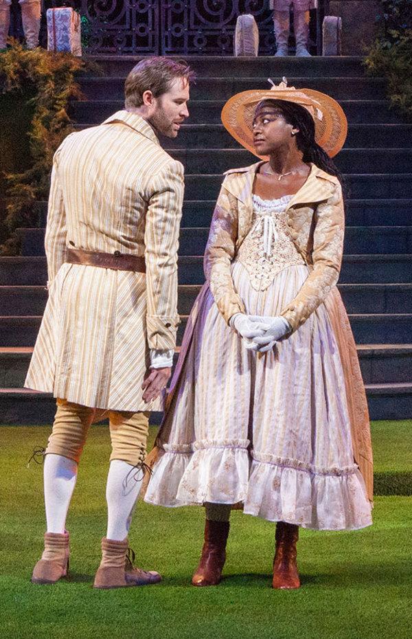 Kieran Campion as Berowne and Pascale Armand as Rosaline Photo