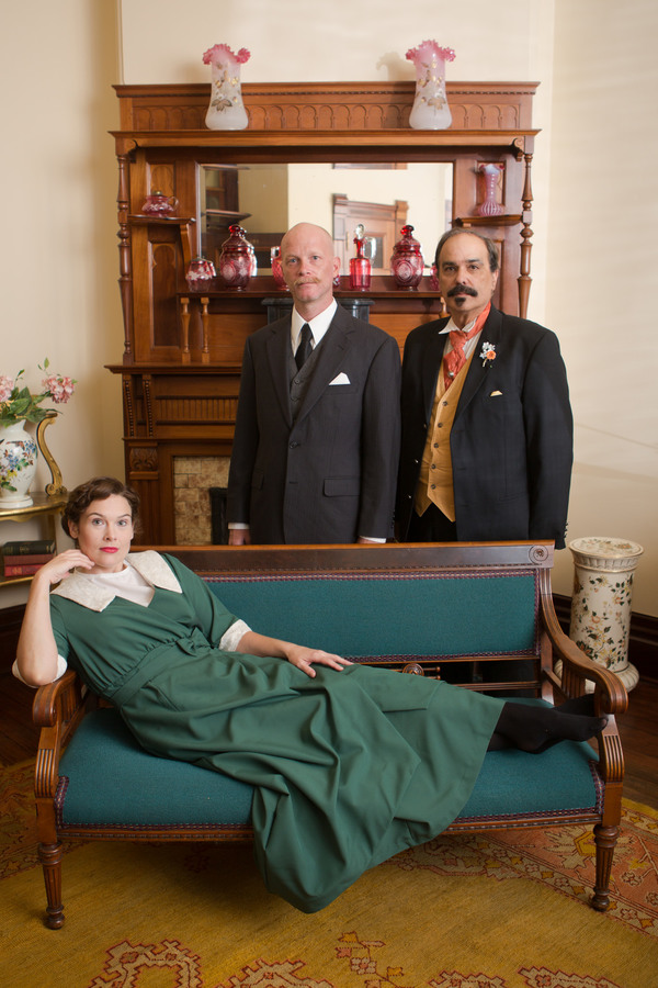 Louise (Nicole Jeannine Smith, reclined) and Theo Maskes'' (Derrick Phillips, left) c Photo