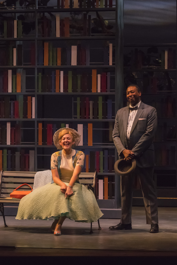 "A scene from the Midwest Premiere of Kenneth Jones' ""Alabama Story� at Peninsula Players August 17 through Sept. 4, 2016.  From left are Katherine Keberlein and Byron Glenn Willis as LIlly and Joshua, two childhood friends who reunite in 1959 Montgome"