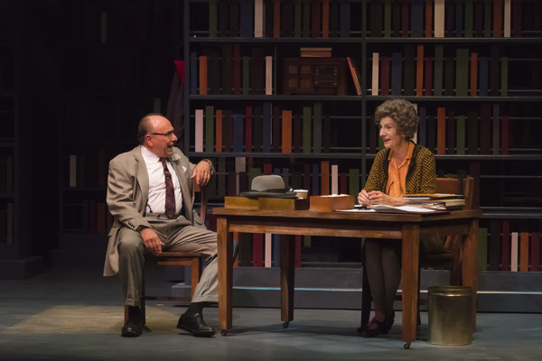 "A scene from the Midwest Premiere of Kenneth Jones' ""Alabama Story� at Peninsula Players August 17 through Sept. 4, 2016.  From left are Greg Vinkler  and Carmen Roman as E.W. Higgins and Emily Wheelock Reed, a segregationist senator and a librarian w"