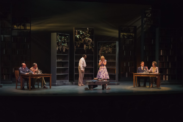 "A scene from the Midwest Premiere of Kenneth Jones' ""Alabama Story� at Peninsula Players through Sept. 4. From left are Greg Vinkler, James Leaming, Byron Glenn Willis, Katherine Keberlein, Harter Clingman and Carmen Roman."