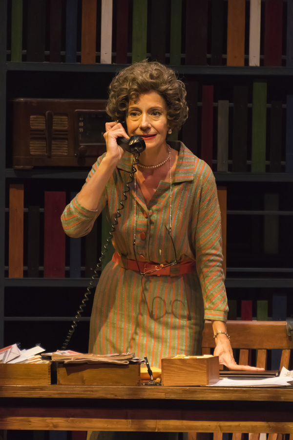 """A scene from the Midwest Premiere of Kenneth Jones' �""""Alabama Story"""" at Peninsula Players through Sept. 4.   Carmen Roman as librarian Emily Wheelock Reed, a librarian who stood her ground for the right to read during the onset of the civil rights move"""