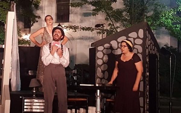 Bernadette C.M. Karpf (Adriana), Mark Masi (Dromio of Syracuse), and Amanda Grillo (Luciana)