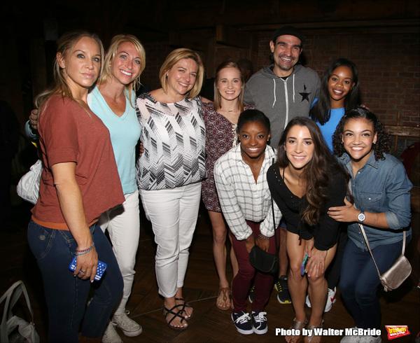 Madison Kocian, Simone Biles, Gabby Douglas, Laurie Hernandez, Aly Raisman, Javier Munoz from the cast of 'Hamilton'