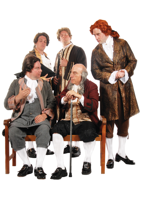 Pictured (left to right): Mark Pierce as Benjamin Franklin, Adam Elliott Davis as Tho Photo