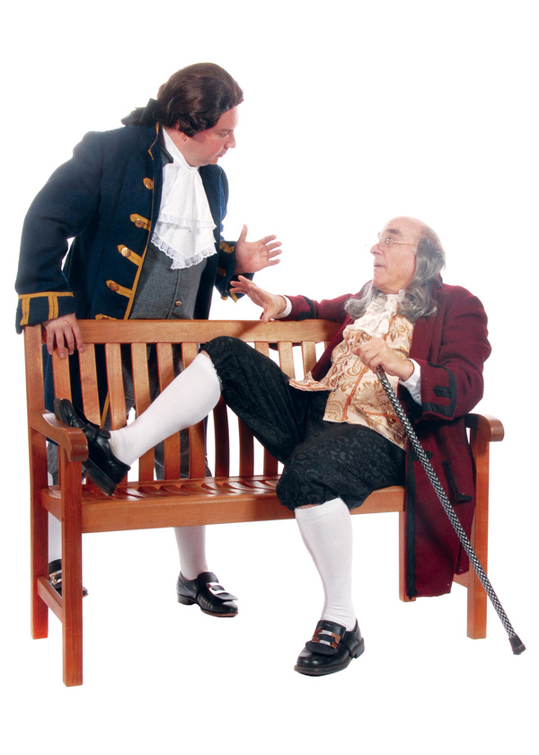 Pictured (left to right): Darius Pierce as John Adams and Mark Pierce as Benjamin Franklin (Father and Son in real life) in the Tony award-winning musical 1776. Photo by Triumph Photography. Performances are September 9 - October 16, 2016 at Lakewood Thea