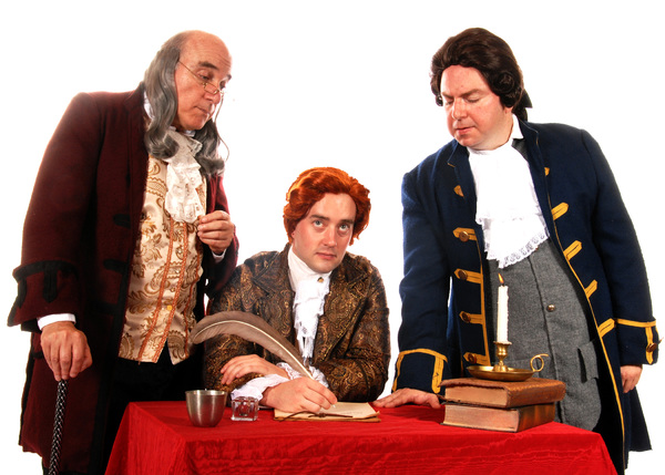 Pictured (left to right): Mark Pierce as Benjamin Franklin, Adam Elliott Davis as Thomas Jefferson, and Darius Pierce as John Adams in the Tony award-winning musical 1776. Photo by Triumph Photography. Performances are September 9 - October 16, 2016 at La