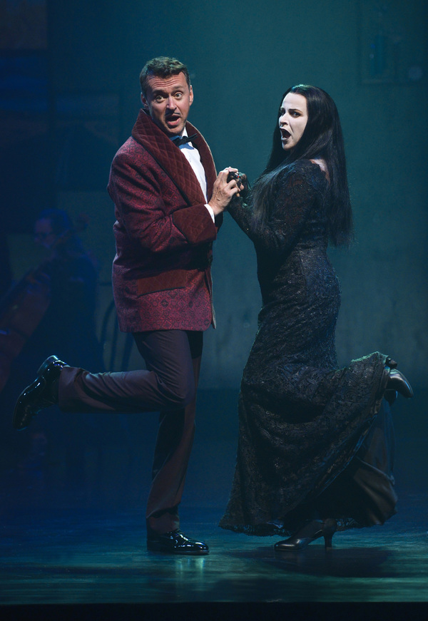 Andrew Lippa and Sally Ann Triplett impersonate Gomez and Morticia