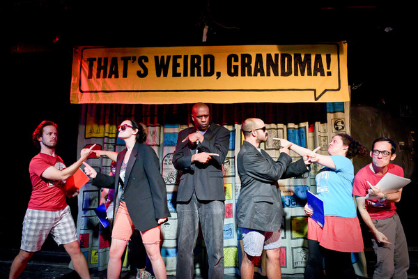"""(left to right) Barrel of Monkeys company members Caleb Probst, Zoe Schwartz, Bradford Stevens, Brandon Cloyd, Katie Suib and Tai Palmgren perform """"It Was a Normal Day in America� in THAT'S WEIRD, GRANDMA: It Came from the Voting Booth, directed by"""