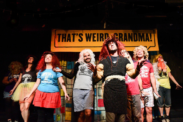 "(left to right) Barrel of Monkeys company members Kassi Bleifuss, Zoe Schwartz, Katie Suib, Brandon Cloyd, Nick Hart (center), Tai Palmgren, Caleb Probst and Kurt Chiang perform ""The Ten Diamonds & Sisters� in THAT'S WEIRD, GRANDMA: It Came from the"