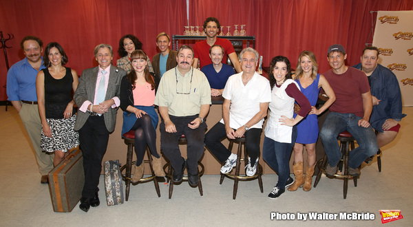 Cheers Live on Stage cast members Buzz Roddy (Cliff), Jillian Louis (Diane), Barry Pearl (Coach), Grayson Powell (Sam), Sarah Sirota (Carla), and Paul Vogt (Norm) with ensemble